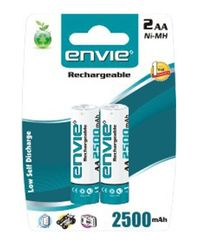 Envie AA 2500 2PL Ni-MH Rechargeable Battery, multicolor