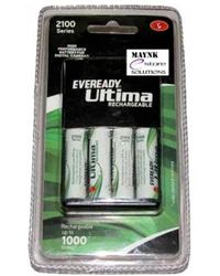 Eveready Ultima Rechargeable Nimh 2100 mAh 4Pcs AA batteries with AA-AAA charger for Camera, multicolor