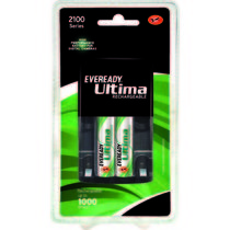 Eveready Ultima Rechargeable Nimh 2100 mAh 2 Pc batteries with AA-AAA charger,  black