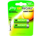Godrej GP ReCyko AA 2100 mAh (2 Pcs - Pre-Charged) Rechargeable Battery (Multicolor)