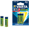 Varta Longlife Accus 2AA Size Ni-MH 2100 mAH Rechargeable Battery