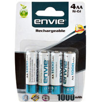 Envie AA 1000 4PL Ni-CD Ni-CD Rechargeable Battery, multicolor