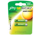 Godrej GP ReCyko AAA 850 mAH (2 Pcs) Pre-Charged Rechargeable Battery (Multicolor)