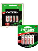 Eveready 700 mAh AA Charger with 4 Battery+ 700 mAh 4 AA Battery Set Combo (Multicolor)