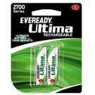 Eveready Ultima Rechargeable Nimh 2700 Mah AA batteries for Camera 2pcs, multicolor