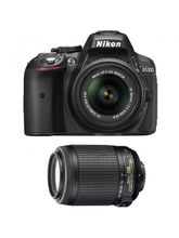Nikon D5300 D-ZOOM KIT DSLR Camera (with AF-S 18-55mm VR II & AF-S 55-200mm VR II Kit Lenses), black