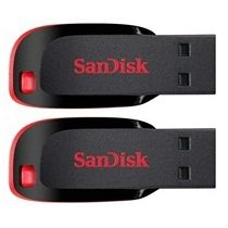Sandisk Cruzer Blade 16 GB Pen Drive (Combo Pack of 2),  black