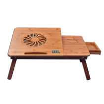 DGB Jumbo Wooden Laptop Table with Cooling Fan,  brown