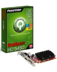 Powercolor AX5450-1GBK3-SHEV2 (RADEON HD5450) 1GB DDR3 HDMI V2 UEFI Ready Graphics card, multicolor