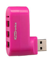 Portronics POR 462 3 Port USB Hub And Card Reader, Pink