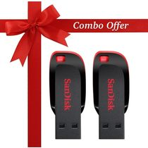 SanDisk 32GB+ 32GB Cruzer Blade Pen Drive (Pack of 2),  black