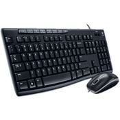 Logitech MK200 Media Wired Keyboard and Mouse Combo, Black, standard-black