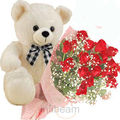 Red Roses With Teddy