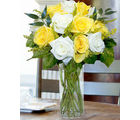 12 Yellow & White Designer Long Stem Roses (Roses)