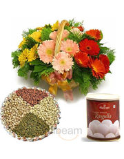 Rasgulla With Gerbera basket & Dryfruits