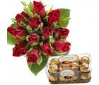 12 Red Roses & Ferrero Chocolates Flower Gift 180