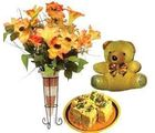Sohan Papdi and Artificial flowers in Vase.