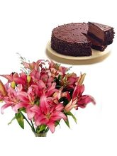 Bunch Of Lilies & Chocolate Cake Flower Gift 223