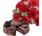 Flowers with Chocolate Cake