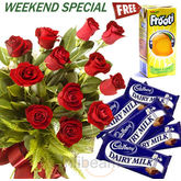 Dairy Milk With Roses Bunch