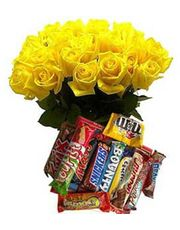 Yellow Roses N 12 Assorted Chocolates Gift