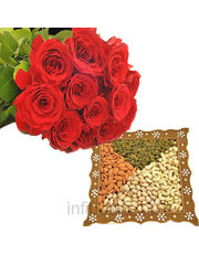 Roses Bunch With Dryfruits box
