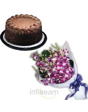 Fresh Purple Orchids N Chocolate Cake Flower