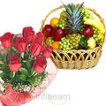 Roses With Fruit Basket