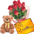 Rose Bunch with Teddy Chocolate