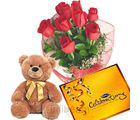 Rose Bunch with Teddy & Chocolate