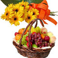 Gerbera With Mixed Fruit Basket