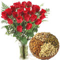 Dryfruits With Vase Of Roses