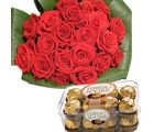 Bouquet of 18 Red Roses & Ferrero Flower Gift 178