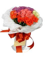 Exotic Fresh Bunch Of 28 Mix Roses Flower Gift
