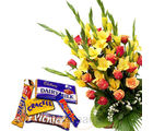 Mixed Flower Bunch With Chocolates