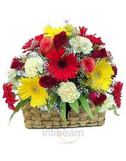 Exotic Beautiful Basket Of 22 Mix Flower Gift