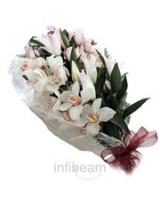 Special Bunch Of 12 Cute White Orchids Flower