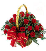 30 Red Roses Basket (Roses)