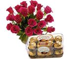 12 Fresh Pink Roses & Delicious Ferrero Gift 182