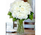 12 White Long Stem Roses (Roses)