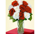12 Red & White Long Stem Roses (Roses)
