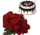 12 Roses & 1 Kg Black Forest Cake Flower Gift 199