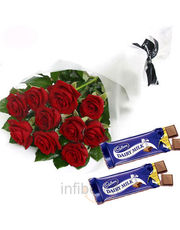 Red Roses With Dairy Milk