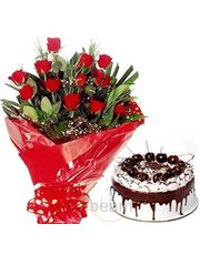 Bunch Of 12 Roses N Black Forest Cake Flower