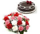 Fresh Carnation Bunch & Chocolate Cake Flower Gift