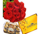 Roses With Chocolaty Celebration