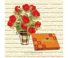 Delight of Chocolates with 12 Artificial Roses