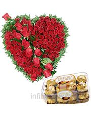 Fresh Rose Heart N Ferrero Rocher Flower Gift