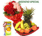 Mixed Fruits Basket With Roses