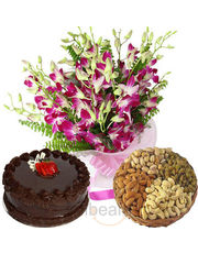 Dryfruits With Cake & Orchids Bunch